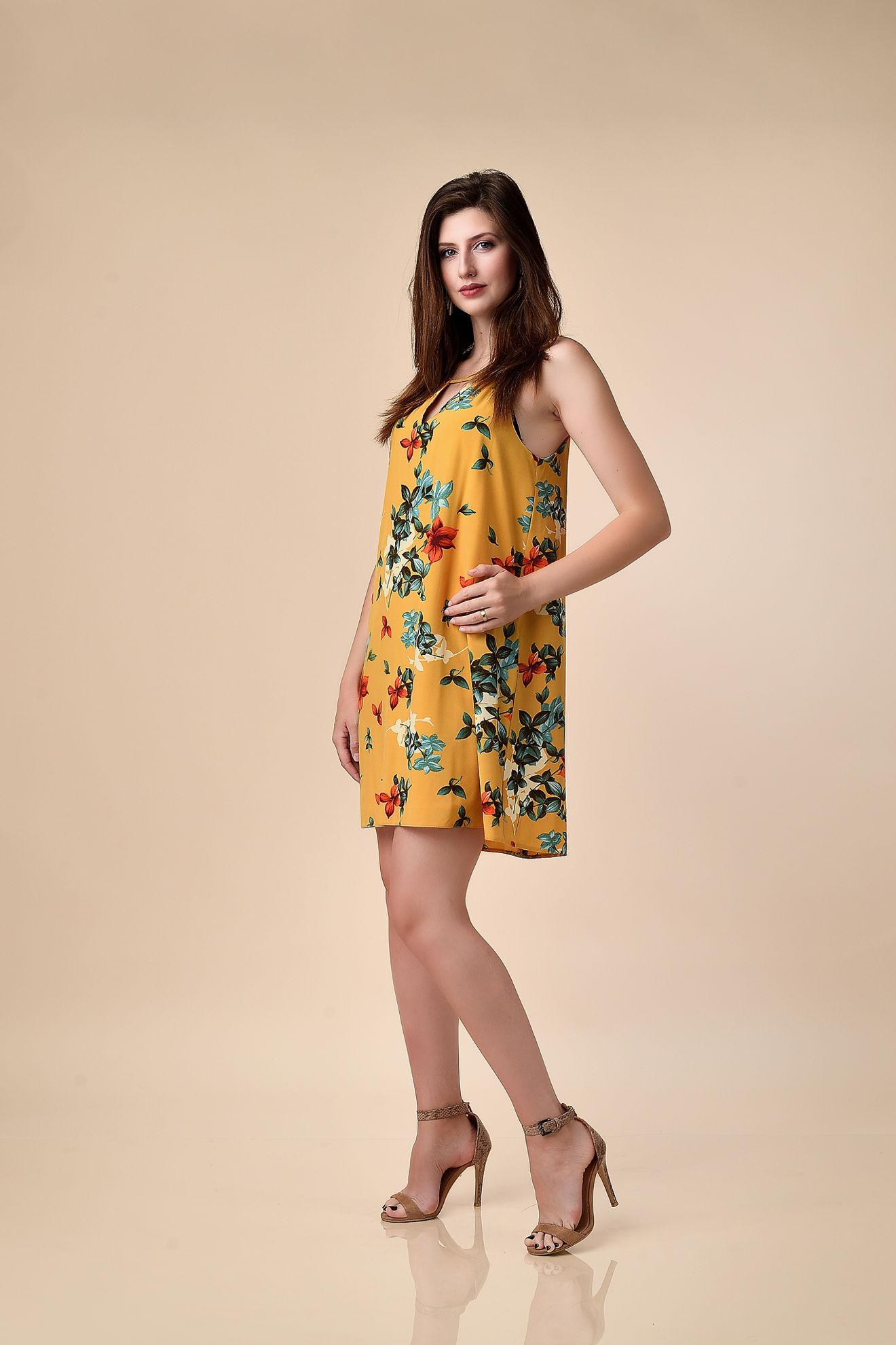 Imagine Rochia Margo galben cu imprimeu floral